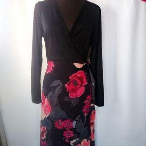 Venus black and floral wrap dress